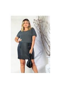 T-Shirt Plus Size Melinde Basica Cinza Estonado
