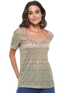 Camiseta Cantão Garden Verde/Bege