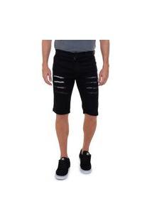 Bermuda Jeans Onix Rasgada Destroyed Confortável Masculino Preto