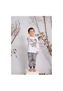 Pijama Longo Brilha No Escuro Dino - Dadomile Multicolorido