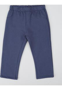 Calça Infantil Em Moletom Com Bolsos Azul Marinho