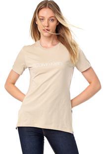 Camiseta Calvin Klein Lettering Bege