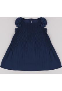 Vestido Infantil Plissado Com Flores Sem Manga Azul Marinho