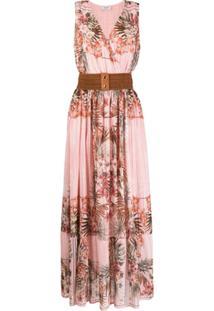 Liu Jo Vestido Longo Com Estampa Floral E Cinto - Rosa