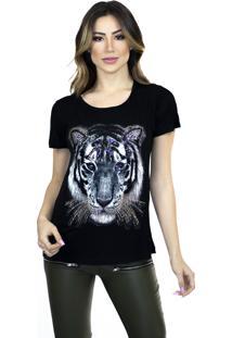 T-Shirt Cavallari Aplique Tigre Preta