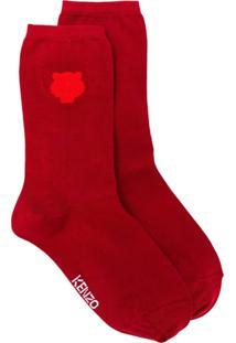 Kenzo Par De Meias Com Logo Bordado - Vermelho