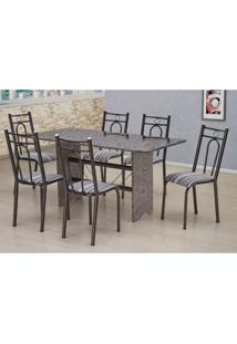 Conjunto De Mesa Com 6 Cadeiras Pietra Craqueado Preto E Listrado Branco E Preto