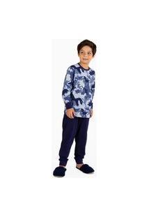 Pijama Longo Menino Infantil 100% Algodão Gola U Mensageiro Dos Sonhos Estampa Dinossauro Cor Azul Multicolorido