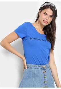 Camiseta Top Moda Básica Missing Too Much Feminina - Feminino-Azul