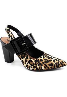 Sapato Chanel Eléia Onça Verniz Feminino - Feminino