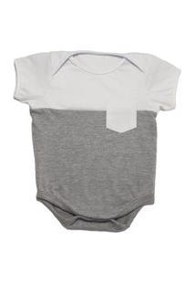 Body De Bebê Calupa Com Bolso Cinza Branco