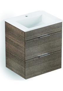Gabinete Integrado Cube 2 Gavetas Com Lavatório 65X43 Branco