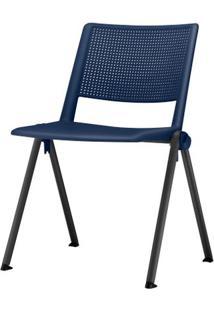 Cadeira Up Assento Azul Base Fixa Preta - 54306 Sun House