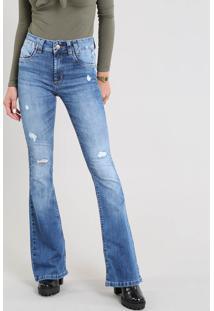 Calça Jeans Feminina Sawary Flare Com Rasgos Azul Médio