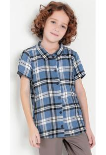 Camisa Infantil Xadrez Azul Com Botões