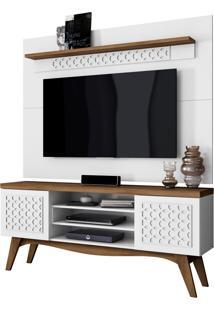 Rack Bancada Lis 02 Portas Com Painel Para Tv Win New Sala De Estar Branco/Canela - Frade Movelaria - Branco - Dafiti