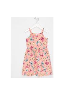 Vestido Infantil Estampa Borboletas Com Minipompons - Tam 5 A 14 Anos | Fuzarka (5 A 14 Anos) | Rosa | 5-6