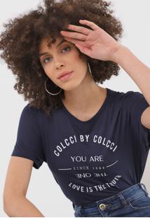 Camiseta Colcci Lettering Azul-Marinho - Azul Marinho - Feminino - Viscose - Dafiti