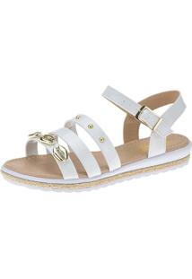 Sandália Anabela Slim Infantil Menina Fashion Concha Strass 69.01.001 - Branco