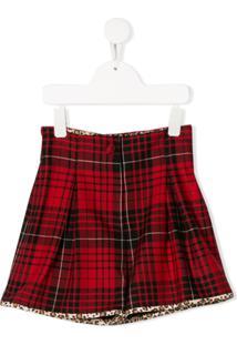 Monnalisa Tartan Pattern Skirt - Vermelho