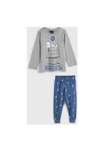 Pijama Malwee Kids Longo Infantil Snoopy Cinza/Azul