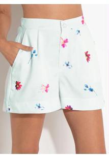 Short Quintess Floral Com Cintura Média