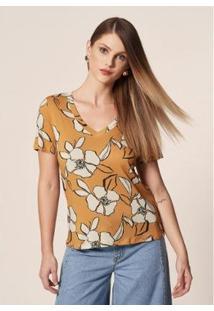 Camiseta Mob Malha Floral Bicolor Dijon Feminina - Feminino