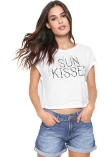 Camiseta Cropped Dzarm Sun Kissed Branca