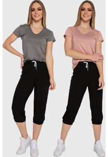 Kit 2 Camiseta Básica Baby Look Carbella Patrícia Básica Manga Curta Confort Casual Cinza Rosa