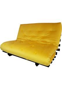 Sofa Cama Casal Futon Oriental Amarelo Com Madeira Maciça Nobre