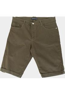 Bermuda Sarja Preston Plus Size Masculina - Masculino-Verde Militar