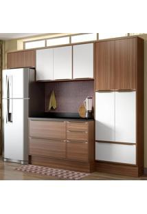 Cozinha Compacta Calábria 11 Portas C/ Tampo E Rodapé Nogueira/Branco - Multimóveis