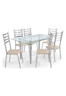 Conjunto Mesa Elba C/ 6 Cadeiras Alemanha Cromado/Nude Kappesberg Prata/Off-White