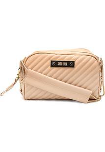 a78c21b95c Bolsa Santa Lolla Mini Bag Alça Corrente Matelassê Feminina - Feminino-Bege