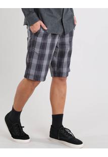 Bermuda Masculina Slim Estampada Xadrez Chumbo