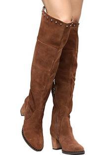 Bota Couro Shoestock Over The Knee Vira Cravos Feminina - Feminino