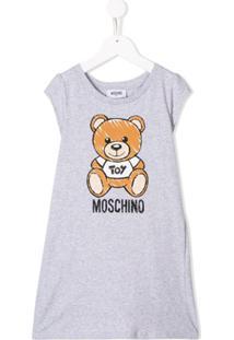 Moschino Kids Vestido Com Estampa Logo - Cinza