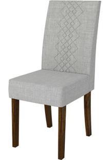 Cadeira Olímpia 2 Peças - Rústico Malbec Com Linho Claro