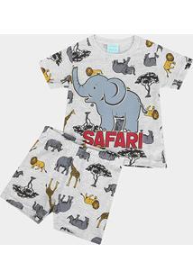 Pijama Infantil Kyly Safari Brilha No Escuro Masculino - Masculino-Mescla
