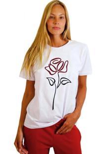 Camiseta Basica Joss Flor Em Linha Branca