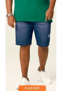 Bermuda Azul Jogger Malha Jeans Plus