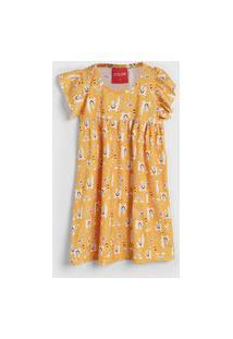 Vestido Manga Curta Tricae Infantil Lhama Amarelo/Branco
