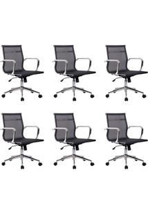 Conjunto Com 6 Cadeiras De Escritório Diretor Giratórias Eames Star Preta