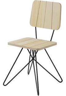 Cadeira Costinha Pinus Com Base Estrela Preta - 49554 - Sun House