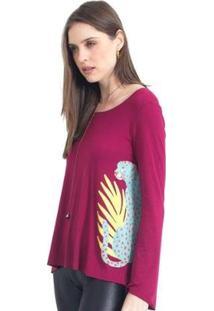 Camiseta 41Onze Plant Cheetah Feminina - Feminino-Vinho