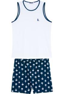 Pijama Masculino Lua Cheia Regata Bermuda Coqueiro