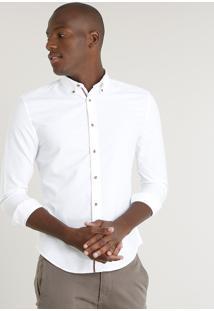 Camisa Masculina Slim Manga Longa Off White