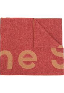 Acne Studios Cachecol Com Logo - Vermelho