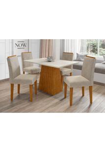 Conjunto De Mesa De Jantar Com Tampo De Vidro Jasmin E 4 Cadeiras Giovana Ii Animalle Off White E Cinza