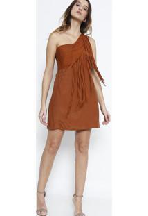 Vestido Ombro Único Com Franjas- Marrom Clarobobstore